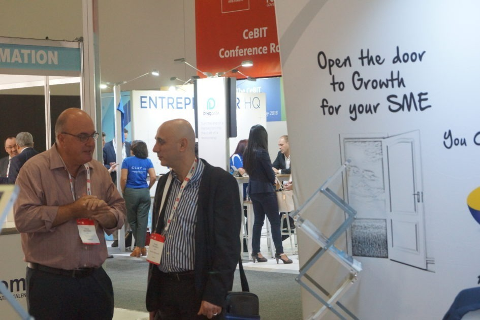 Chris Moriarty with prospects at CEBIT